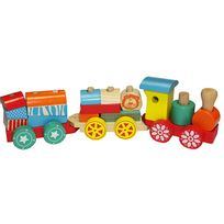 Train en Bois Jouet Enfant - Très coloré - 14 Blocs