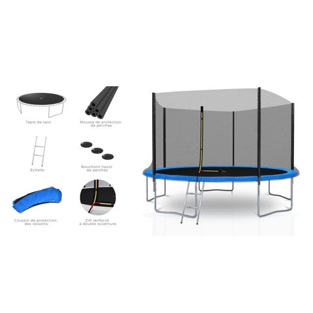 Kaia Sports Trampoline extérieur 12Ft / ø366cm Deluxe Pack trampoline de jardin avec Filet extérieur, mousse de protection, échelle