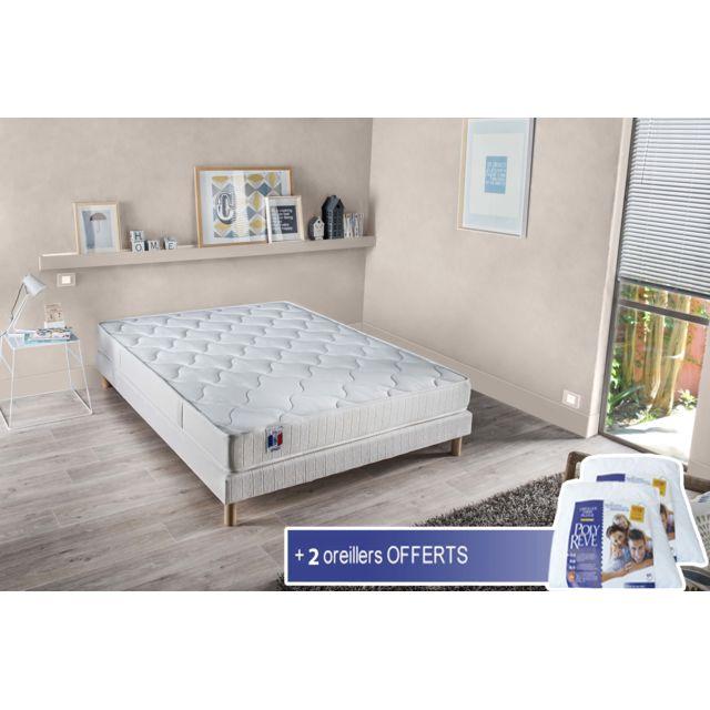 lovea ensemble matelas accueil latex 3 zones sommier 140x190 unique 2 oreillers blanc. Black Bedroom Furniture Sets. Home Design Ideas