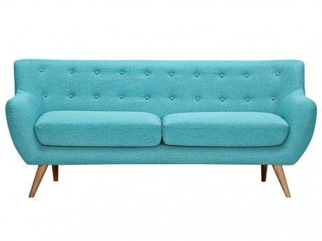 vente unique canap 3 places en tissu serti bleu turquoise avec boutons d co assortis achat. Black Bedroom Furniture Sets. Home Design Ideas