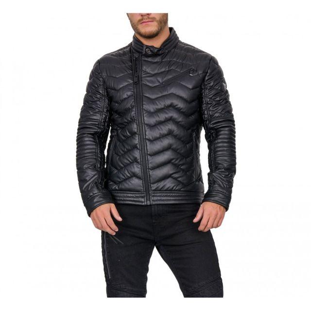 99b910571fe1 Guess - Doudoune Homme Eco Leather Biker Noir - pas cher Achat ...