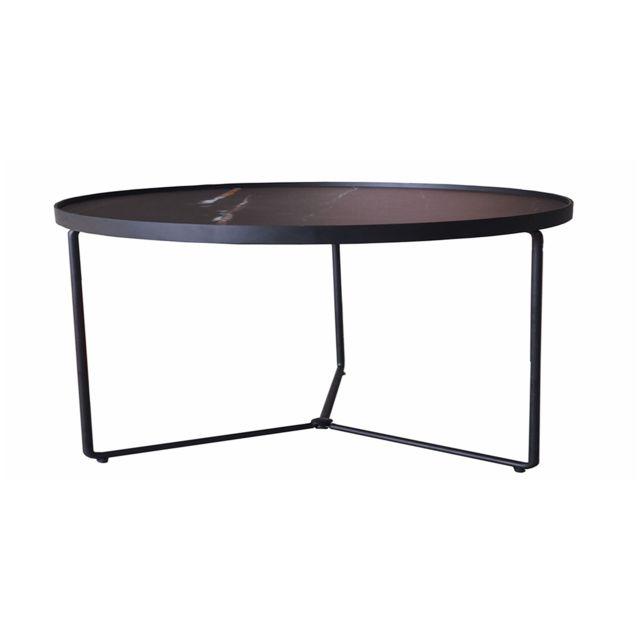 La Maison Du CanapÉ Table basse verre Médium Zebra - Effet marbré - Noir
