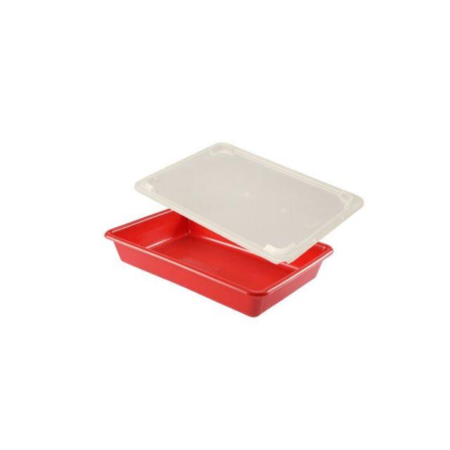Gilac Bac Plat Alimentaire 5 Litres Rouge et Couvercle Transparent