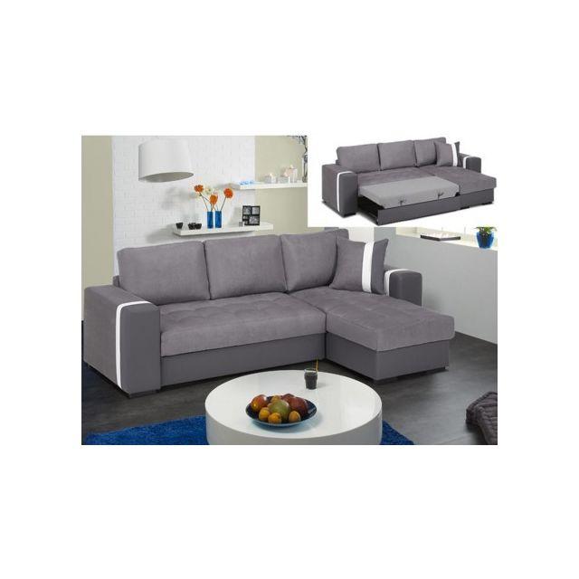 MARQUE GENERIQUE Canapé d'angle convertible réversible en tissu et simili PERDITA - Bicolore anthracite/gris clair