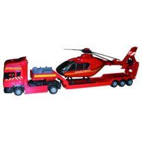 John World - Coffret véhicule de secours : Camions de pompiers avec hélicoptère et voiture