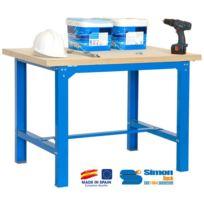 Simon Rack - Kit Etabli 865x1800x750mm Bleu/Bois - Bt6 Plywood 1800