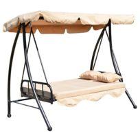 HOMCOM - Balancelle balancoire fauteuil lit de jardin convertible en acier 2 places charge max. 360kg creme 92