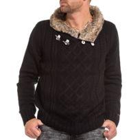 Legenders - Pullover tricot homme noir col châle fourré