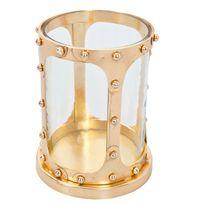 Comforium - Objet de décoration design en métal et verre coloris doré
