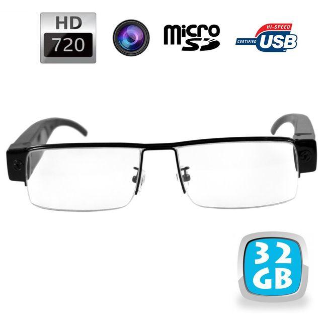 Yonis Lunettes de vue demi-lune mini caméra espion Hd 720p Micro Sd 32 Go Ces lunettes caméra 32 Go compactes vous permettront de filmer ce que vous regardez en qualité Hd (1280x720p).La caméra est invisible, directement intégrée dans la monture.L'enregis
