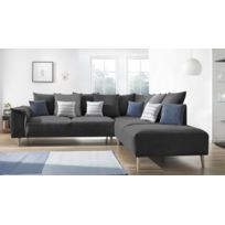 BOBOCHIC - Canapé d'angle LONDON - 6 places - Fixe - Angle droit - Gris Anthracite - 267cm x 79cm x 290cm - Droite