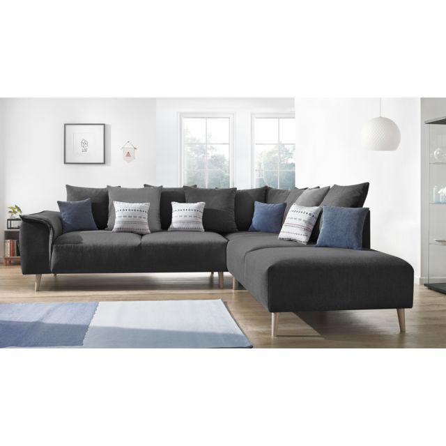 BOBOCHIC Canapé d'angle LONDON - 6 places - Fixe - Angle droit - Gris Anthracite - 267cm x 79cm x 290cm - Droite