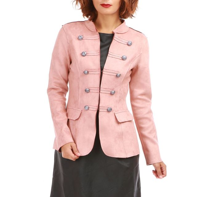 Veste femme suedine rose