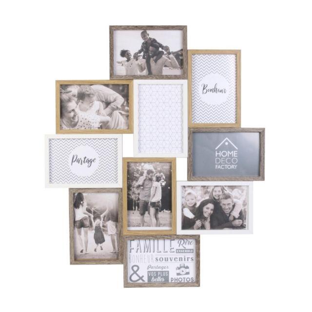 Pêle-mêle en bois 10 photos - L 47 x P 2,8 x H 56 cm - Blanc, Beige et Marron
