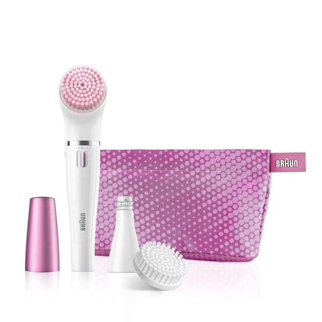 BRAUN Coffret cadeau coup d'éclat épilateur facial face se852S rose + brosse nettoyante visage Le premier épilateur visage et système à brosse de nettoyage au monde. Offrez un éclat incomparable à votre visage
