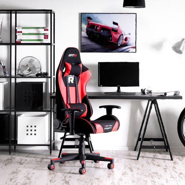 gamer noir Fauteuil de style fonction racing coussins 2 RACER 54 cm 44 Chaise bureau gaming rouge de basculement xdBorCQeWE