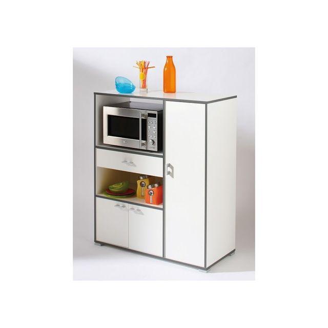 rocambolesk desserte micro onde 3 portes 1 tiroir buzz blanc 120955 0cm x 0cm x 0cm pas cher. Black Bedroom Furniture Sets. Home Design Ideas
