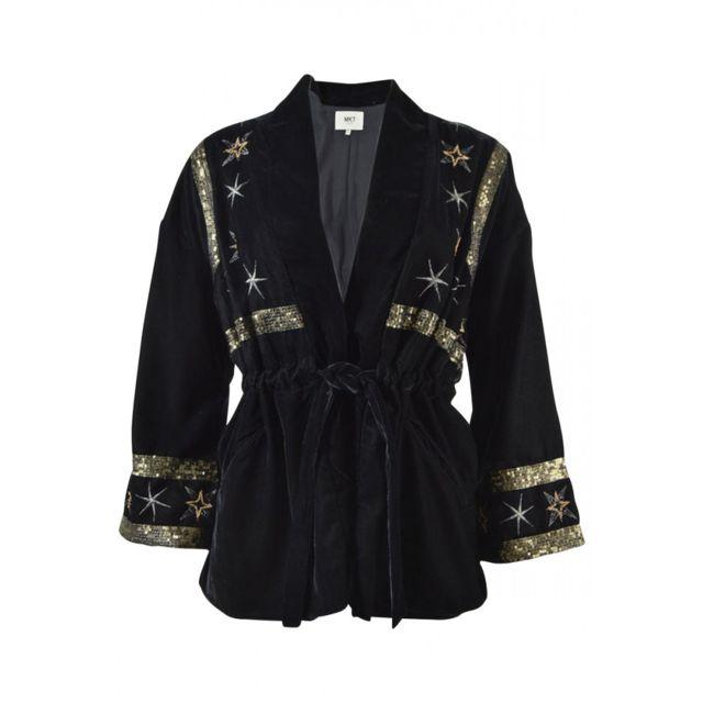Mkt Veste kimono velours et perles étoiles Vincyne