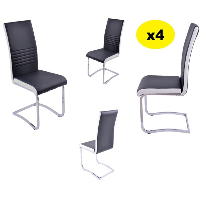 Lot de 4 Chaises Simili Blanc Noir Penny