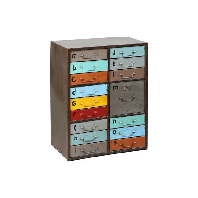 Meuble de rangement 16 tiroirs en acier multicouleurs Atelier Metal