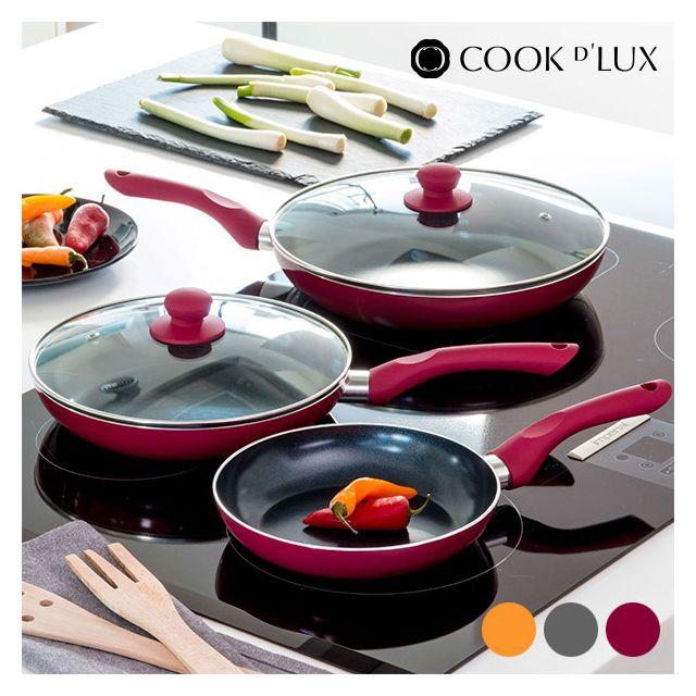 Appetitissime - Poêles en céramique Cook D'Lux 5 pièces, Couleur Orange