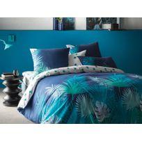 Matt&ROSE - Housse de couette réversible 100% coton feuille palmier tropical bleu/vert Nuit Tropicale - 260x240cm