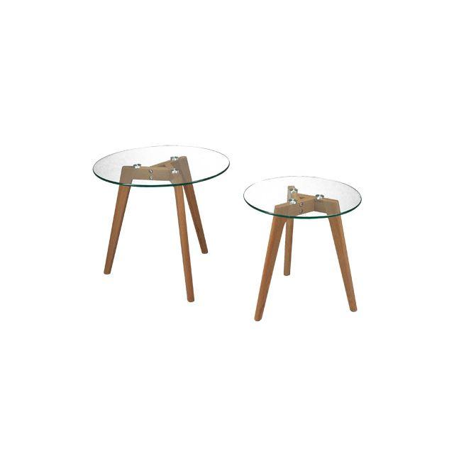 Lot de 2 tables gigognes pieds en chêne, plateau en verre
