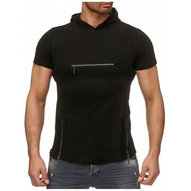 446dda1d9d079 Selection Izi - T shirt capuche noir avec zip - pas cher Achat ...