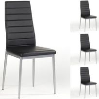 Idimex - Lot de 4 chaises Nathalie simili cuir noir