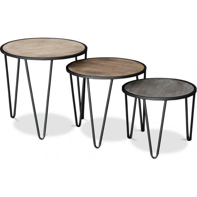design intemporel b8a95 6d58e Privatefloor - Petites tables basses rondes Hairpin Bois ...