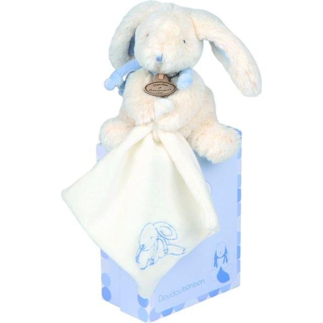 Doudou Et Compagnie - Lapin Bonbon Pm avec doudou - bleu