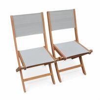 Chaises de jardin en bois et textilène Almeria Gris taupe 2 chaises pliantes en bois d'Eucalyptus FSC huilé et textilène