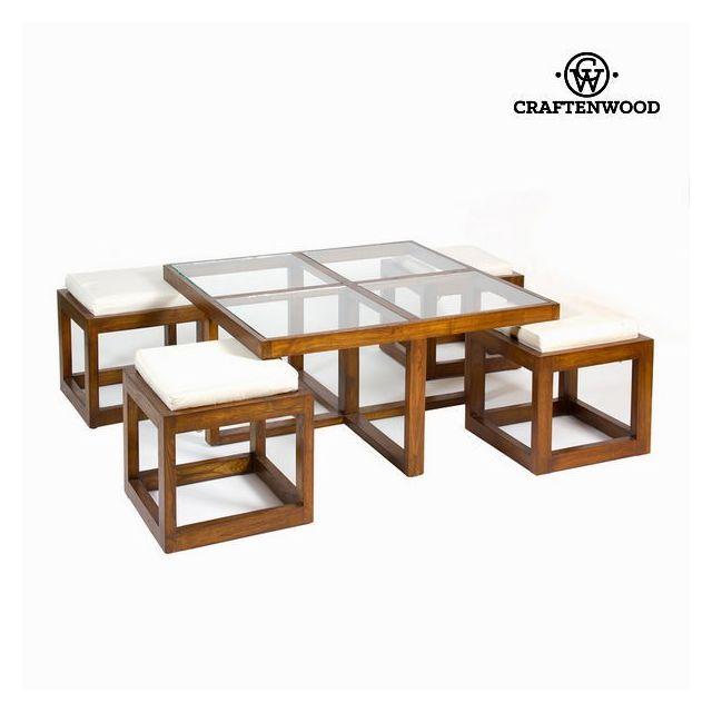 Table En Decoration Salon Bois Maison La Basse Du Verre Et Avec Tabourets De HD2EW9I