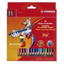 Stabilo - 203/2-18 Crayons De Couleur ÉPAIS Trio 18 Coloris Avec Taille-crayon
