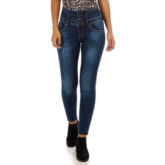 cc4da232c4062 Lamodeuse - Jeans bleu taille haute à 4 boutons - pas cher Achat ...