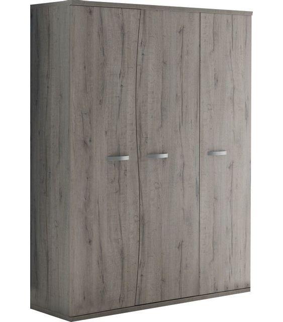 Armoire chambre bébé moderne 140cm 3 portes avec courbes coloris chêne gris