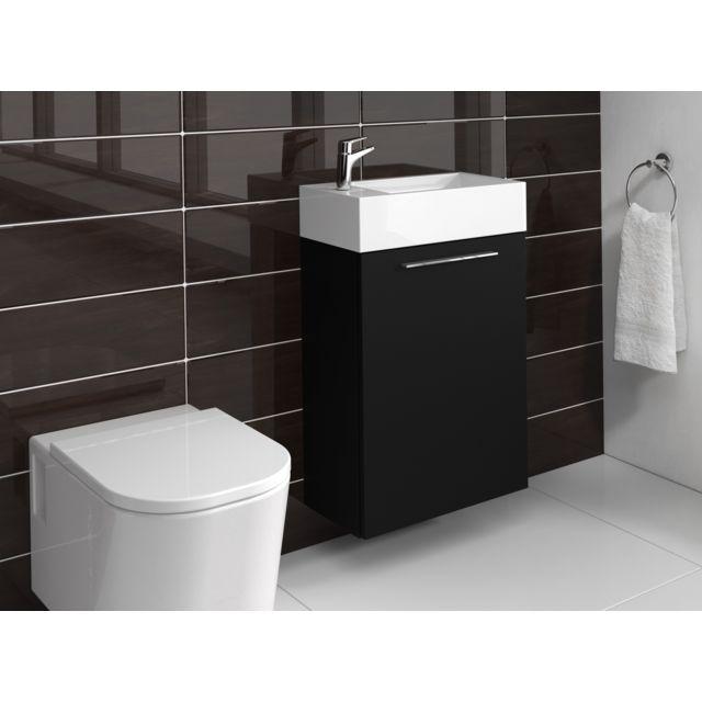 Meuble de salle de bain Madrid Noir bois 40x22 cm Armoire de rangement  Meuble lavabo evier Meubles