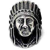Bijoux&M - Bague acier chevaliere chef indien