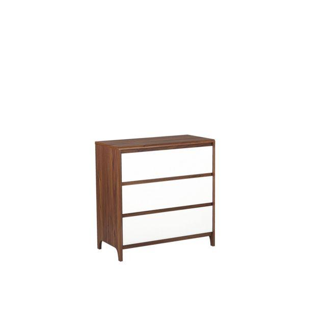 BELIANI Commode 3 tiroirs blanche et bois foncé MAIDEN