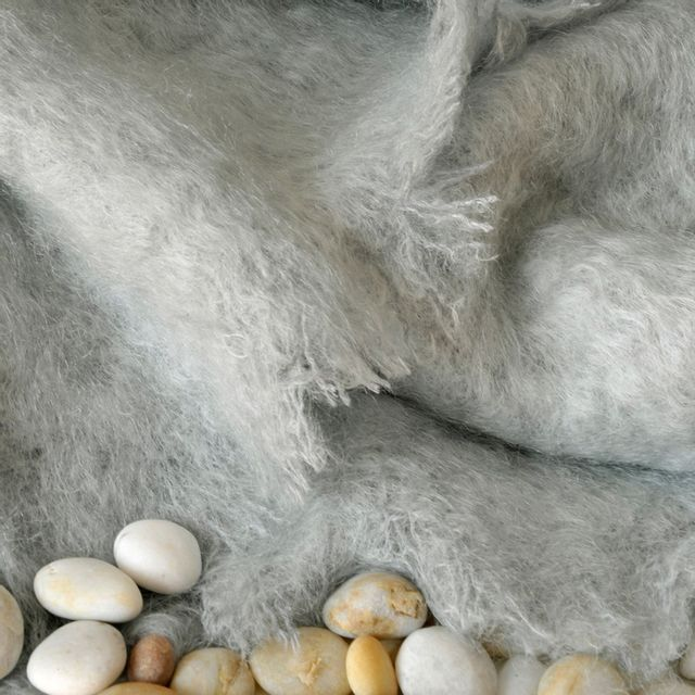 Tradition Des Vosges - Soldes Plaid Mohair Uni 130X150 Gris Perle