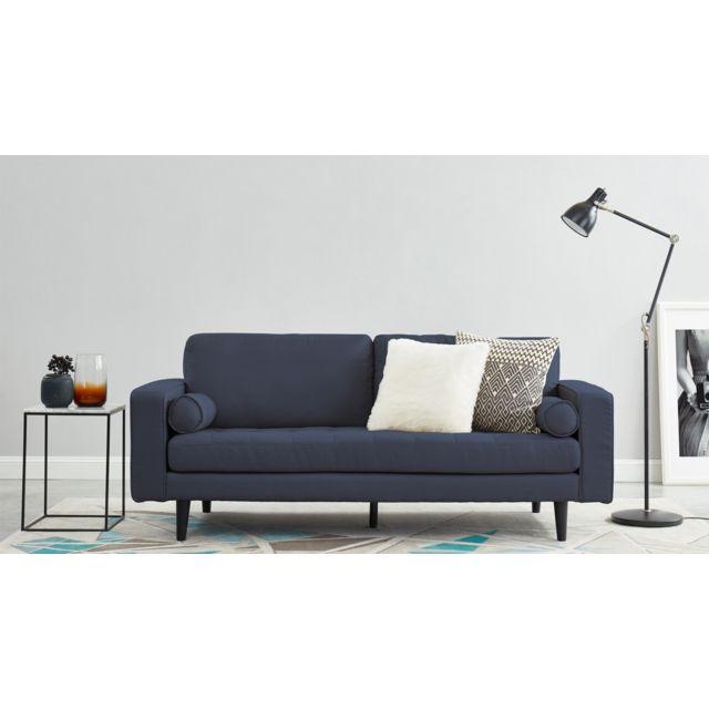 HOMIFAB Canapé droit 3 places en tissu bleu cobalt - Collection Charly