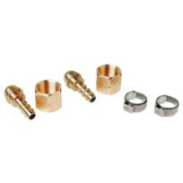 GUILBERTEXPRESS - Kit de 2 raccords tétine pour tuyau 6.3m avec ecrou 3/8 gauche + 2 colliers - 963R