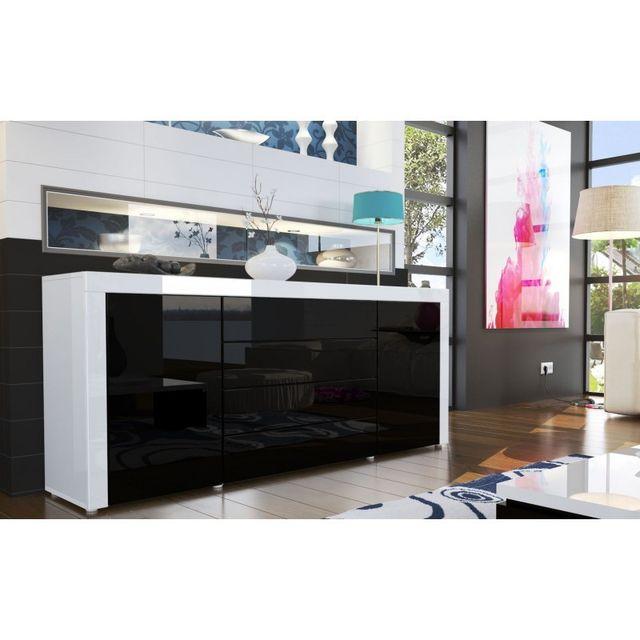 Mpc Buffet design laqué blanc / noir