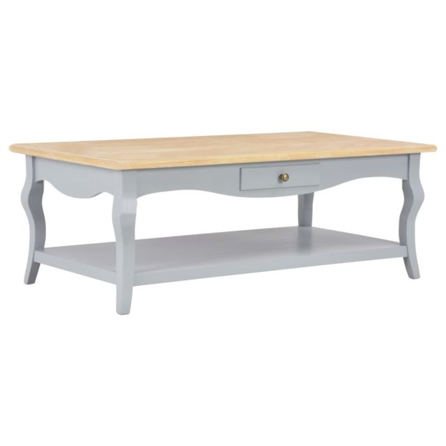 Vidaxl Table Basse Gris Mdf Table d'Appoint Bout de Canapé Salon Etagère