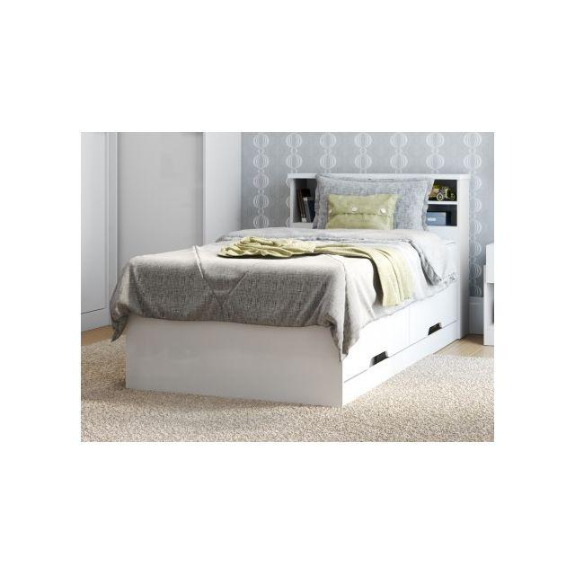 MARQUE GENERIQUE Lit BORIS avec tiroirs et rangements - blanc - 90x190cm