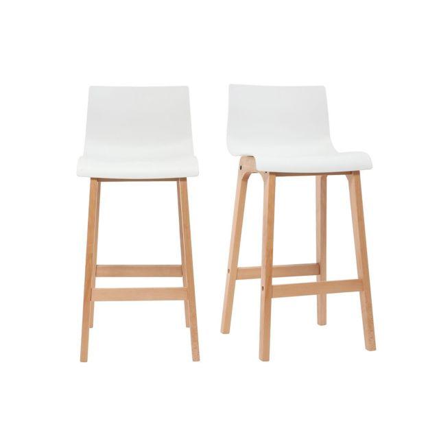 miliboo tabouret de bar design bois et blanc 65 cm lot de 2 new surf pas cher achat vente. Black Bedroom Furniture Sets. Home Design Ideas