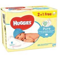Huggies - Lingettes Pure peaux sensibles 2+ 1 Gratuite -3x56