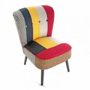 Versa Fauteuil Design Multicolore Solid Patchwork Pas Cher Achat - Fauteuil multicolore design