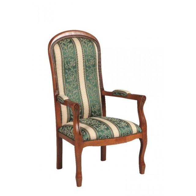 inside 75 fauteuil voltaire merisier et tissu vert nc. Black Bedroom Furniture Sets. Home Design Ideas