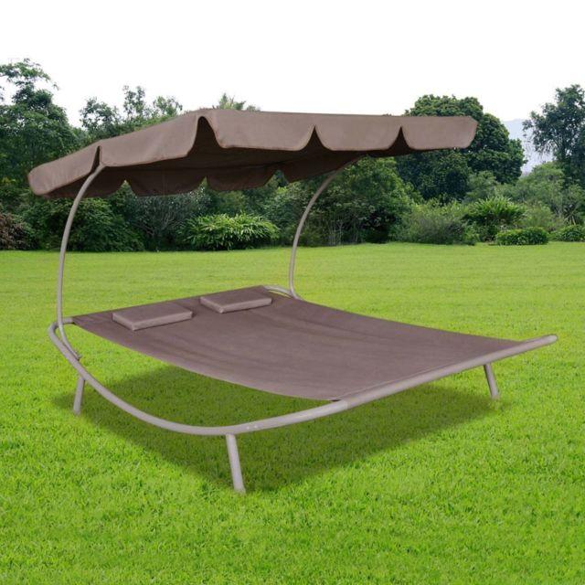 Chaise longue de jardin avec auvent et oreillers Marron